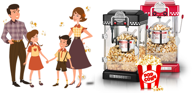 family with popcorn machines